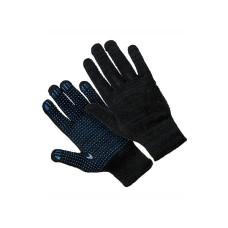 040902 Перчатки 5-нитка 7,5 класс с ПВХ Черная плотная