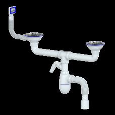 B730V Сифон д/кухни Unicorn двойной c прямоугольным переливом выпуск 3 1/2 со стиралкой